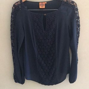 Tory Burch silk navy blue tunic size 6 or M